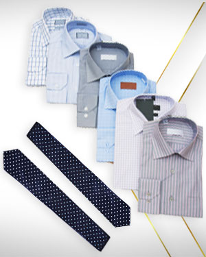 The Shirt Stack - 6 Cotton Shirts and 2 Neckties from Exclusive Collections