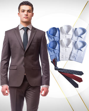 Spring Package from Classic - 1 Single Breasted Suit, 6 Cotton Shirts and 3 Neckties from our Classic Collections