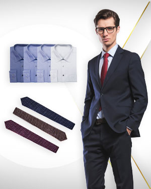 Four Essential Suits and Shirts - 4 Single Breasted Suits, 4 Cotton Shirts and 3 Neckties from our Classic Collections