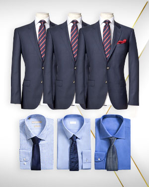 Power of Three - 3 Single Breasted Suits, 3 Cotton Shirts and 3 Neckties from our Exclusive Collections