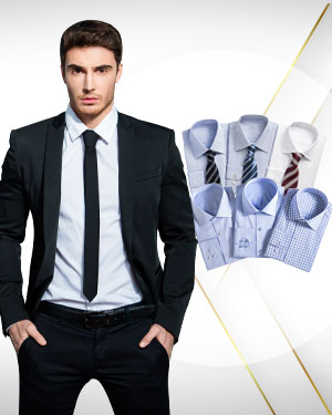 The Executive Suite - 2 Single Breasted Suits, 6 Cotton Shirts and 3 Neckties from our Exclusive Collections