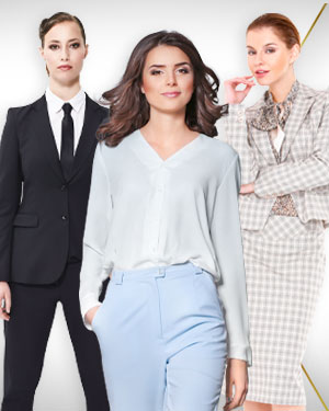 Package for a Workplace Warrior - 2 Pants Suits, 2 Skirts Suits, 4 Silk Blouses and 2 Silk Scarf from our Classic Collections
