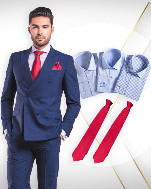 A Power Package - 1 Double Breasted Suit, 3 Cotton Shirts and 2 Neckties from our Exclusive Collections