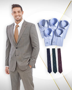 The Bankers choice - A Three Piece Suit, 3 Neckties from our Exclusive Collections and Five Cotton Shirts from our Classic Collections