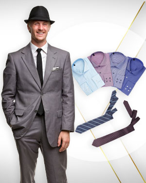 The Spring Discount - A Two Piece Suit, Four Shirts and 2 Neckties in Cotton from our Deluxe Collections