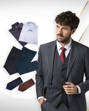 The Mixed Doubles Classic - 2 Three Piece Suits, 2 Pants, 2 Cotton Shirts and 3 Neckties from our Classic Collections
