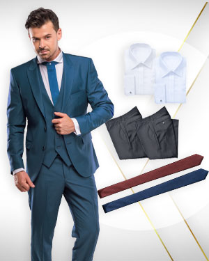 The Mixed Doubles Exclusive - 2 Three Piece Suits, 2 Pants, 2 Cotton Shirts and 3 Neckties from our Exclusive Collections