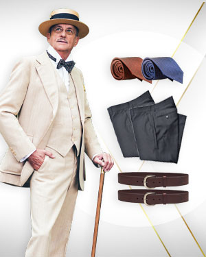 The Triple Classic - 3 Three Piece Suits, 3 Pants and 2 Belts and 2 Neckties from our Classic Collections