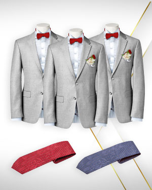 The Marriage of Three - 2 Groomsmen's Suits 1 Groom's Suit and 2 Neckties - for the Perfect Wedding - from fabrics in our Exclusive COLLECTIONS