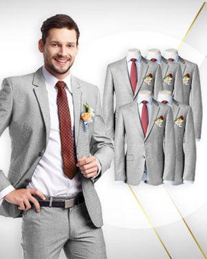 The Wedding Six - 5 Groomsmen's Suits 1 Groom's Suit  and 2 Neckties - for the Full Wedding Party - from fabrics in our CLASSIC COLLECTIONS