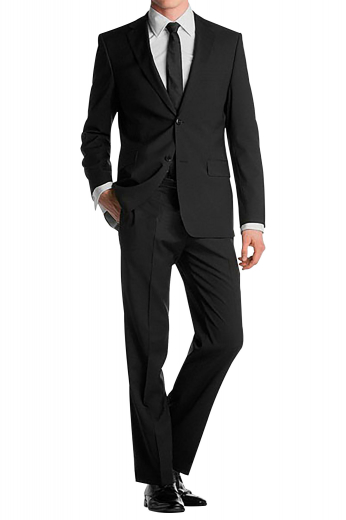 A slim fit two button single breasted jacket with high notch lapels, an upper welt pocket, and embroidered sleeve cuffs paired with flat front suit pants with on-seam pockets.