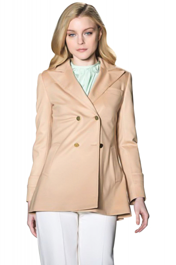 The cuffs of these custom-made ravishing coats sport epaulettes with buttons on them. Double breasted with four front buttons, two to close, these hip length coats look royal with press peaked lapels. One upper welt pocket, two lower welt pockets and lapels display detailed track stitching. With a tapered waist and impressive side vents, these line silhouette coats are ideal for all seasons.