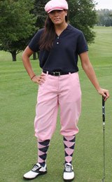Womens plus fours and knickbockers - perfectly tailor made to measure in a low waist slim fit style for the young look. Comfortable yet dressy, with belt loops and zip front closure, side pockets and elastic stretch at the knee make this a must have for the golf course!