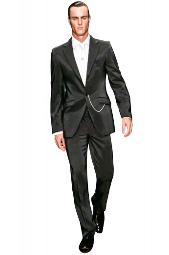 Check out this made to measure suit featuring tailor-made slim cut high waisted suit pants with reverse pleats and hand-sewn cuff hems. It is elegantly complimented by a sophisticated single breasted one-button suit jacket with skillfully track stitched darts and embroidered sleeves.