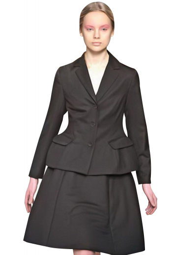 Made with wool, these black skirt suits incorporate short length jackets and custom-made suit skirts. Jackets sport three front buttons, slim ruled notch lapels and two lower pockets with flaps. The 6 panel skirts, ending just above the knees, have flat fronts and concealed side zipper closure.