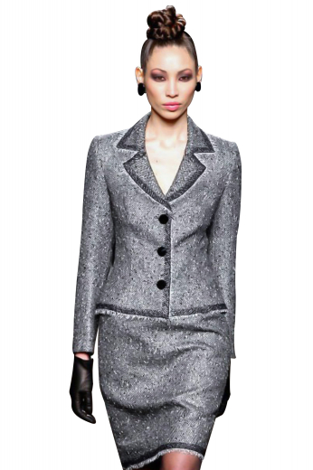 Rock all business parties and formal events with these shimmering suit jackets and suit skirts. Ultra slim with a squared bottom, beautifully hand sewn notch lapels and three front black buttons, the jackets have perfect figure defining silhouettes. Custom pencil skirts have a center vent on the back, aligned with a concealed zipper for closure.