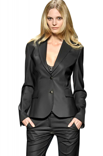 Handmade black pant suits with dazzling curved-front jackets and full length pants. Custom pants with flat fronts and two side pockets are comfortable everyday office formals. Custom jackets with two front buttons to close put to view two flapped lower pockets, soft shoulder paddings, surgeons sleeves and slim ruled notch lapels.