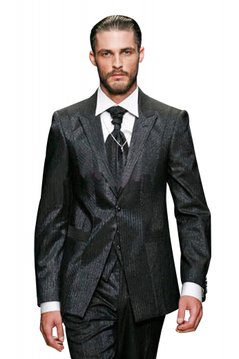 Very fashionable mens jacquard wool suit custom made with split squared quarters and one button closure - finished with 2.5 inch peak lapels in a slim and tailored fit - worn with flat front pants