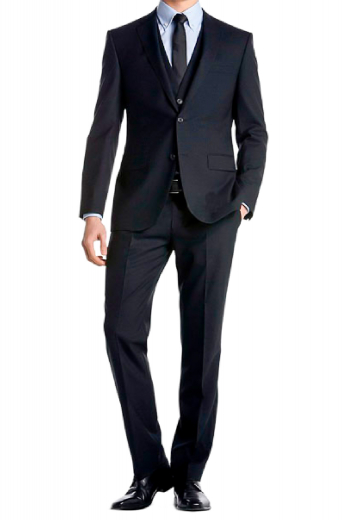 A made to measure three-piece suit made for the classy man. A slim cut v-neck five button suit vest is paired with flat front slim fit suit pants, completed by a single breasted two button suit jacket.
