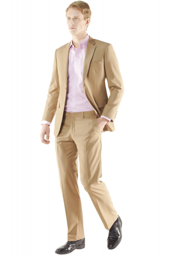 Beige Men Custom Made Suit - With its fully lined jacket this two piece suit is a laid-back sophistication. Cut to a athletic fit, this striking two button suit features a notched lapel, natural shoulder, flap pockets accompanied with plain front pants