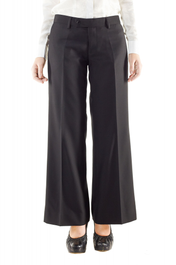 Hot handmade pants with neatly hand sewn cuffs and hems. These black pants with flare legs and front zipper fly with buttons on the waistband to close, are ideal office wears for interviews, meetings and formal evening parties. They can be custom-tailored with wool and or cashmere.