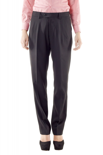 Splendid full length black pants with front slash pockets and ravishing reverse double pleats. Give a mesmerising casual office look with custom shirts and vests. Have-on-show two buttons on the waistband and a front zipper for easy closure. With beautifully done hems and cuffs, these bespoke formal pants can be ordered in wool and or cashmere.