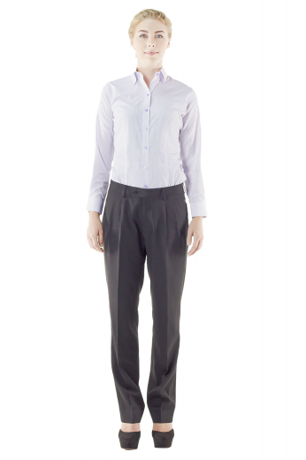 Eternally gorgeous formal black pants with eye catchy reverse double pleats. Bespoke office wears flashing two front slash pockets and extended belt loops with buttons on the waistband and a zipper fly for closure.