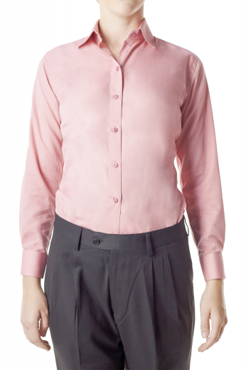 Sewn with cotton, these baby pink formal shirts are casual office stunners. These snug fit handmade shirts boast impressive squared edge french cuffs, front closure buttons and Ainsley collars. Can be made wrinkle free.