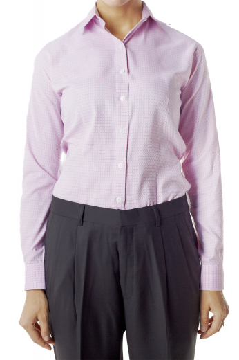 Check out these stylish custom made cotton shirts with handmade Ainsley collar in cool pink. With made to measure rounded barrel cuffs and front close buttons, these office stunners can be donned with custom pants and suit skirts.