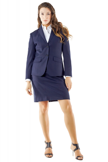 Style no.15143 - These dazzling made to measure navy blue skirt suits look mesmerizing with custom vests and bespoke shirts. These handmade formal wears flash body contouring tailor made jackets with two front buttons, four buttons on sleeves cuffs, slim notch lapel collars and two slanted flapped lower pockets, and stylishly tailored pencil skirts with soft waistbands, belt loops, aligned back zippers and center vents.