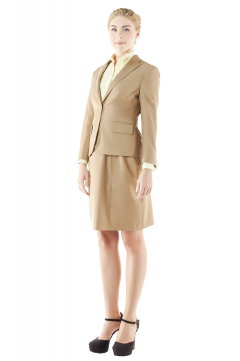 Handmade dark cream skirt suits with knee length A line skirts baring flat fronts, zipper on the front left and soft waistband, and slim cut jackets creating stunning line silhouettes. These jackets flaunt one front closure button and slim ruled notch lapels. These custom skirt suits can be ordered in wrinkle free wool and or cashmere.