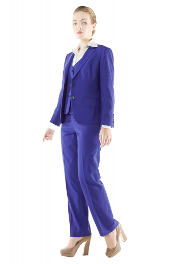 Stunning royal blue pant suits featuring slim vests, figure flattering jackets and snug fit suit pants. V neck vests with rounded square bottoms display four front closure buttons. Flat front pants with vertical pockets put to view zipper fly and buttons on the waistband for closure. Slim jackets with two slanted flapped lower pockets and notch lapels have two front buttons to close.