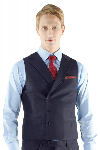 Style no.15282 - Add some flair to your style with this double breasted made to measure waistcoat. Cut to a slim fit, this striking custom tailored 3-button layering piece features a small notched lapel, handmade upper welt pocket and two lower pockets.