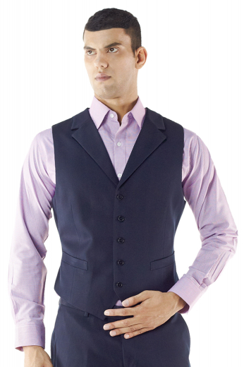 Under a jacket or on its own, this custom made waistcoat adds a layer of sophistication to any look. Cut to a well-defined fit, this features lower welt pockets and a high notch lapel .