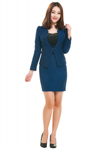 Bespoke navy blue skirt suits made with wool and or cashmere. Suit jackets display flamboyant stand up collars, two flapped lower pockets and one button on the front to close. Suit skirts, ending just above the knees, have ultra slim fit and center vents and zipper, aligned with each other on the back.