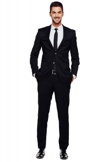 The modern day bond look is enjoyed in this very slim fit tailored mens suit, custom made in black. Featuring narrow lapels, slim sleeves and slim fit pants with 15 inch bottoms giving this tailor made ensemble a very trendy air.