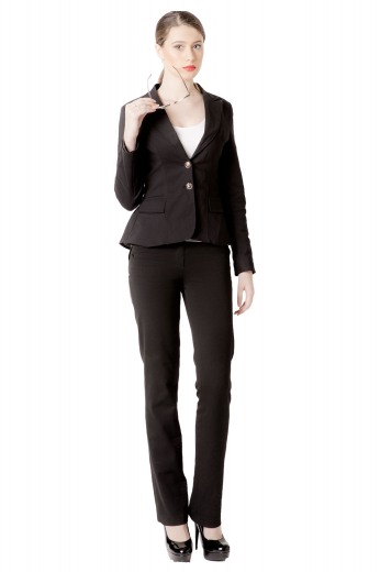 This stunning womens custom made black pant suit in wool features a bespoke jacket with 2 front close buttons and handmade dress pants with a zipper fly. The mens custom made slim fit black jacket has 3 inch wide high notch lapels, hand moulded shoulders, and princess dart back and front. The womens tailor made slim fit dress pants have a flat front, 2 front slash pockets, a 2 point button and hook closure, a boot cut style, and flared legs. You can buy this affordable womens bespoke slim fit black pant suit at My Custom Tailor.