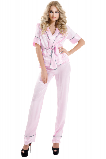 This gorgeous womens tailor made salmon satin night suit features a womens handmade night shirt with a plain front and womens custom made pyjamas. The womens tailor made slim fit night shirt has the same fabric sash, short sleeves with cuffs, a flapped pocket on the left, and a squared bottom. The womens tailor made salmon full length pyjamas have a comfortable loose fitting, a flat front, and an elastic waistband. You can buy this pretty pink womens bespoke night suit at My Custom Tailor at affordable rates.