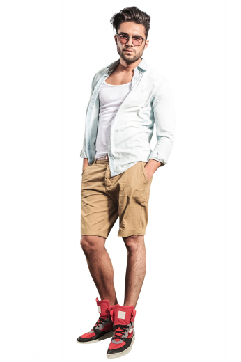 Style no.15889 - These mens made to order khaki golf shorts in cotton are perfect for men who like style as much as comfort. These mens custom made low rise shorts have a flat front and a zipper fly. With comfortable belt loops, 2 front slash pockets, and 2 back pockets, these mens handmade slim fit khaki shorts also feature 2 1.5 inch wide turned-up cuffs. You can buy these mens bespoke cotton summer shorts at My Custom Tailor to sport a casual look.