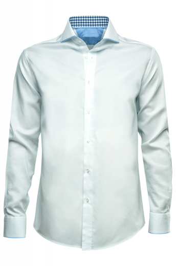 With a super stunning placket front and a comfortable plain back, this mens bespoke cotton business shirt in ice white is a perfect formal that you can wear to work daily. This mens handmade ice white business shirt features a semi spread collar with 3 inch wide collar points and a standard yoke. This mens custom made cotton dress shirt also has amazing rounded mitered barrel cuffs and standard tails that make this garment even more stylish. You can buy this mens made to order cotton dress shirt at My Custom Tailor.