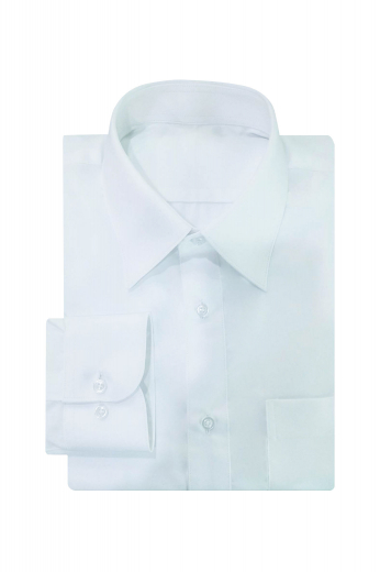 This mens tailor made white business shirt in premium quality Long Staple Supima cotton is a delightful formal featuring an iconic European Narrow Forward Point Collar with 3 inch wide collar points and 1 1/4 inch collar height. This mens custom made slim fit white business dress shirt also features 2 gorgeous rounded barrel cuffs. With a plain back and 1 standard pocket on the left, this mens bespoke supima cotton white dress shirt also features a placket front. You can buy this mens handmade dress shirt at My Custom Tailor.