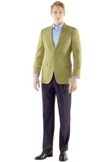 This must buy mens tailor made tan jacket in merino wool is a trendy formal for all men who like to keep an updated work look. This mens made to order merino wool blazer has 2 front close buttons and 1 boutonniere on the left lapel. This mens bespoke made to order tan dinner jacket also has 1 upper welt pocket, 2 neatly sewn lower pockets with flaps, and a trademark center vent. You can buy this mens handmade merino wool trendy blazer at My Custom Tailor at super affordable rates.