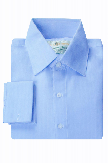 This iconic mens bespoke cornflower blue business shirt in cotton is a perfect everyday formal that you can also wear to interviews. This mens tailor made slim fit dress shirt has a stunning hand sewn semi spread collar with 3 inch collar points. With a stunning representation of 2 squared edge french cuffs and a comfortable plain back, this mens handmade cornflower blue slim fit formal shirt also has a wonderful placket front. You can buy this stunning mens handmade cotton business shirt at My Custom Tailor at affordable rates.