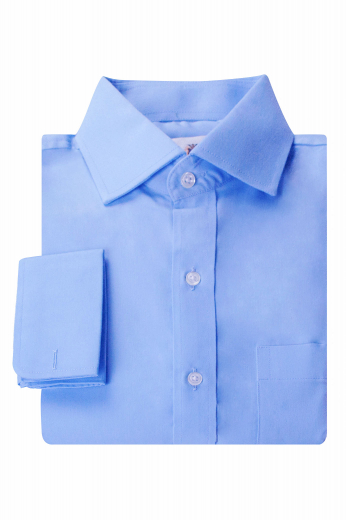 This mens handmade cornflower blue dress shirt in supima cotton is a trendsetting formal for meetings and interviews. This mens made to order slim fit business shirt has a semi-spread collar with 3 inch wide collar points. With stunning rounded edge french cuffs and a placket front, this mens handmade supima cotton cornflower blue business shirt can be purchased at My Custom Tailor at low rates. Wear this mens bespoke slim fit cornflower blue formal shirt with mens bespoke dress pants for a classic look.