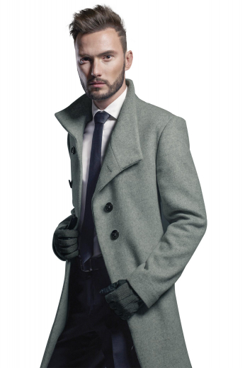This stunning mens tailor made cashmere wool silver overcoat will give you an unbeatable formal work look that'll make you be the trendsetter you always wanted to be. This mens bespoke slim fit overcoat with a single breasted pattern and 2 black front close buttons also features stunning hand moulded shoulders and 2 slanted lower pockets that look classy. You can buy this mens custom made slim fit silver winter jacket at My custom Tailor at rates that you will be able to afford easily.