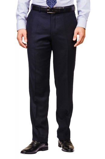 These iconic mens handmade dark blue formal pants in 180s wool are perfect daily wear slacks with a comfortable finish. With 2 on-seam vertical pockets and 2 back pockets, these mens bespoke wool dress pants feature an iconic pattern of hand sewn cuffs hems at the bottom, extended belt loops, a 2 point button and hook closure, and a zipper fly. You can buy these mens made to order dark blue dress pants at My Custom Tailor at affordable rates.