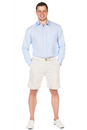 Style no.16046 - These mens handmade white golf shorts in cotton are super comfortable and elegantly designed to display 2 front slash pockets and 2 back pockets. With iconic reverse double pleats on the front and extended belt loops, these mens tailor made slim fit shorts also feature 1.5 inch turned up cuffs at the bottom. These mens made to order cotton shorts also feature a 2 point button and hook closure and a zipper fly. You can buy stunning mens bespoke white golf shorts at My Custom Tailor at affordable rates.