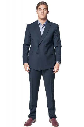 Mens handmade double breasted wool suit in Navy blue, available at My Custom tailor at affordable rates. This mens tailor made slim fit wool suit features a bespoke double breasted jacket and handmade dress pants with a flat front. The mens tailor made slim fit jacket has 6 front buttons with 2 to close, peak lapels with 1 boutonniere on the left lapel, 1 upper welt pocket, 2 lower flap pockets, and side vents. The mens custom made slim fit dress pants have a 2 point button and hook closure, 2 front slash pockets, and a zip fly.