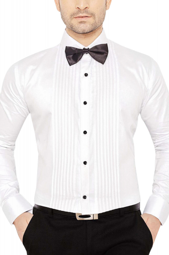This must buy mens made to order Egyptian cotton tuxedo shirt comes from the premium range of stunning handmade garments at My Custom Tailor. This iconic mens tailor made slim fit tuxedo shirt features a placket front with a pleated style. With a plain back, 2 classic squared edge french cuffs, and a semi spread collar to display, this mens handmade white tuxedo shirt can be worn to weddings and corporate parties. Wear it to feel the touch of softness and luxury like you've felt never before.
