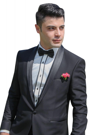 Mens handmade cashmere wool black tuxedo for weddings and corporate events. Features a mens custom made slim fit tuxedo jacket and mens handmade suit pants with extended belt loops. The mens made to order dinner jacket has an elegant shawl collar with satin-facing lapels, 1 exquisite fabric covered button for front closure, an upper welt pocket, and 2 lower flapped pockets. The mens bespoke slim fit dress pants have 2 front slash pockets, 2 back pockets, a 2 point button and hook closure, and a zip fly.